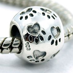 925 Sterling Silver Round Paw Print Bead Charm for Bead Bracelet.