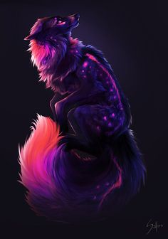 Amazing colours chosen here! Bioluminescent wolfess! Nightmare. by Saf