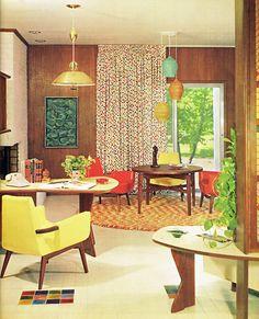 Original vintage midcentury interior design