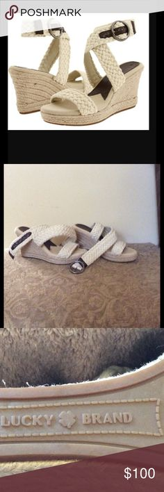 Lucky Brand  Wedges‼️❤️❤️ Cute wedges in great condition. Make me an offer. Store price $245.00 Lucky Brand Shoes Wedges