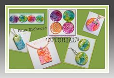 Polymer clay Tutorials Faux Dichroic Pendants Ink by BeadazzleMe, $12.00 * Great tutorial! The pictures provide detail to the instructions and make it very easy to follow!