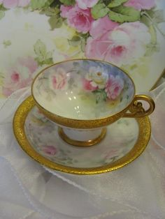 """""""PINK TEA ROSES PERFECTION"""" Gorgeous Antique T&V Limoges France Hand from oldbeginningsantiques on Ruby Lane"""