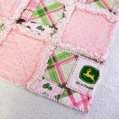 John Deere Pink Baby Rag Quilt
