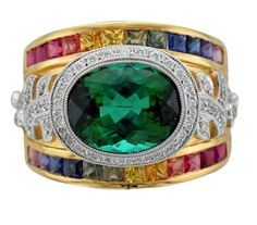 Green Tourmaline, Rainbow Sapphire and Diamond Yellow Gold Ring. Gems Jewelry, Stone Jewelry, Silver Jewelry, Yellow Rings, Expensive Jewelry, Or Rose, Antique Jewelry, Jewelry Design, Rings For Men