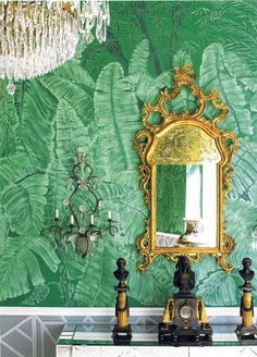 intense color combo! Love the fresh green malachite color wallpaper with yellow gold and black color - dramatic but beautiful color combo!