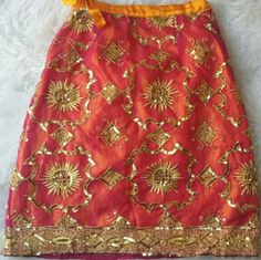 Vintage Hand Made Indian Skirt! Vintage Pink with unique gold embellishments hand made India skirt Inque Skirts