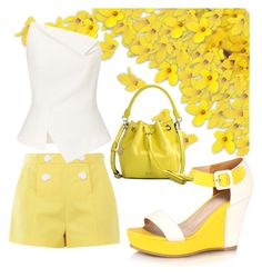 """""""Golden"""" by mjhawkins1983 on Polyvore featuring Boutique Moschino, Roland Mouret and DKNY"""