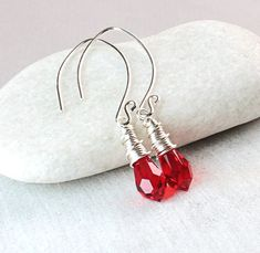 Red Swarovski Earrings Sterling Silver Crystal Silver Jewelry Gifts For Wife Red Teardrop Earrings Austrian Crystal Swarovski Jewelry Teardrop Earrings, Gemstone Earrings, Crystal Earrings, Crystal Jewelry, Metal Jewelry, Sterling Silver Earrings, Silver Jewelry, Best Gifts For Her, Gifts For Wife