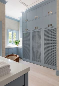 10 Pins : Pinterest Inspiration - roomfortuesday.com Blue Laundry Rooms, Mudroom Laundry Room, Laundry Room Design, Mud Rooms, Hidden Laundry Rooms, Laundry Doors, Laundry Cabinets, Small Laundry, Custom Home Builders