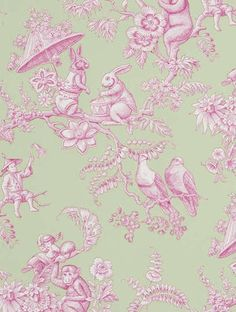 """Tapeten Ouistitis & Co, """"Children and a host of small animals peek out from among twisting branches. The finely wrought pattern is printed on a white or coloured ground, evoking the classic patterns of Toiles de Jouy. This cotton print comes in 5 colours, suitable for both boys and girls rooms. Also exists as fabric in 5 colours. Trimmed."""""""