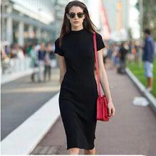 Estilo europeu 2015 moda de alta qualidade modal de algodão vestido de verão mulheres pacote de hip vestidos de gola alta plus size A0449(China (Mainland))