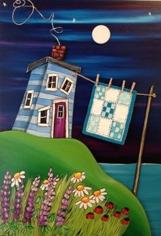 """Aunt Madge was Late Coming Home From the Bingo and Forgot to Take Her Quilt Off the Line"" – The Grumpy Goat Gallery Dot Art Painting, Tole Painting, Mandala Canvas, Bright Art, Newfoundland And Labrador, Canadian Art, Naive Art, Paint Party, Whimsical Art"