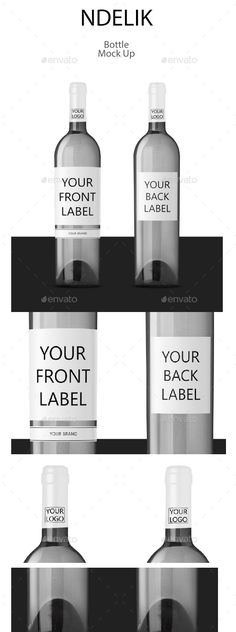 Bottle Mock Up White Wine by ndelikstore Mockup edited using photoshop and created for allow you to easily apply your own wine label design simply using smart layers. and