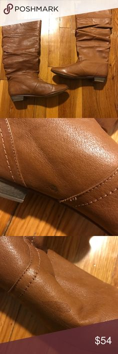 Steve Madden Cadence Leather Tall Boots 9.5 M Cute boots! Fun ruching detail give a little slouched look. Opening behind the calf. These do have a lot of surface blemishes and spots. Most are pictured but I may have missed some small spots due to photo limit. Overall lots of life left! Steve Madden Shoes Combat & Moto Boots