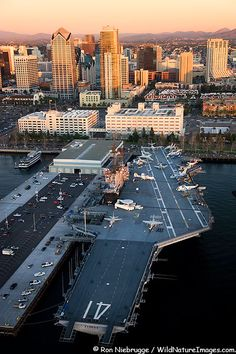 Aerial view of Navy aircraft carrier USS Midway and downtown San Diego, California' loved our time in SD years ago. San Diego Downtown, Navy Aircraft Carrier, Us Navy Ships, San Diego Travel, Naval, Armada, San Francisco, Water Crafts, Hale Navy