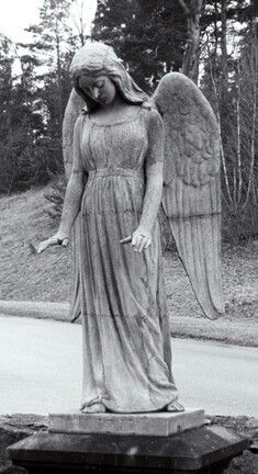 """Angels Hammarby Angel, Sweden """"Mourning is not forgetting . It is an undoing. Every minute tie has to be untied and something permanent and valuable recovered and assimilated from the dust. Cemetery Angels, Cemetery Statues, Cemetery Art, Angel Statues, Entertaining Angels, Angel Sculpture, I Believe In Angels, Garden Angels, Angels Among Us"""