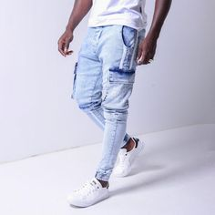 fashion menswear outfits Denim sweater mens men shirt hoodie wear style fashstop tracksuit vans converse street fash stop jeans ripped jeans denim shirts jacket hoodie boots tee Shorts Summer abs gym workout Denim Shirt With Jeans, Cargo Jeans, Striped Jeans, White Jeans, Patch Jeans, Denim Shirts, Denim Joggers, Jean Shorts, Repair Jeans