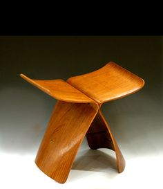 """Historical Design - Sori Yanagi """"Butterfly"""" stool  1956 Bleached rosewood veneer on plywood with brass H: 15"""" x W: 16 ½"""" x D: 12"""""""