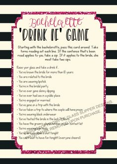Check out this fun bachelorette drinking game by PrettyPrintablesInk on Etsy. Available instantly to download!