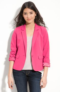 Frenchi One-Button Blazer- pink and day to night perfect.