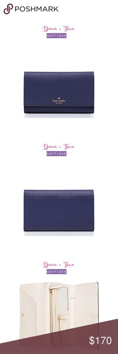 HP 💖 Kate Spade Mikas Pond Phoenix NWT 💖Total Trendsetter Host Pick 10/30/2016 by: @kroy2130 💖  Color: Indigo  MATERIAL * crosshatched leather with smooth leather trim * capital kate jacquard lining  FEATURES * trifold wallet wth snap closure * 11 credit card slots, one billfold, interior slide pocket, interior zipper pocket, zipper change compartment and an id window * gold foil emobossed kate spade new york signature with spade stud  💟PRICE is FIRM 💟10% OFF if BUNDLED 💟NO Trades kate…