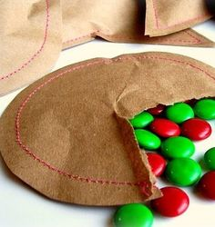 sewn favor bags from peppermint plum via party perfect