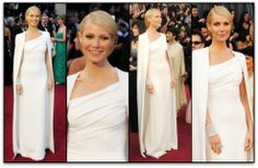 Actress Gwyneth Paltrow wears a Tom Ford gown with Jimmy Choo shoes on the red carpet at the Academy Awards. [Oscars 2012]