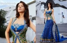 Royal Blue Flare and Jacket Style Net Lehenga Choli With Dupatta