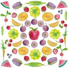 farmer's market fruits and vegetables watercolor illustration