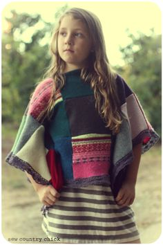 Goed , leuk en mooi! Sew Country Chick: Boho Sweater Poncho Tutorial