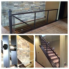 Here are some pics of some fun railings we did in the same house as the steel I-beam mantel and metal panel feature wall. The verticals are raw steel with exposed welds and is complimented by stainless cable.