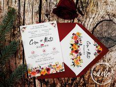 Pentru persoanele care sunt in cautarea unor invitatii de nunta tiparite pe carton special, cu elemente florale – watercolor, plic marsala (rosu aprins) si interior plic personalizat cu numele mirilor si data marelui eveniment, recomandam modelul de Invitatie nunta Derya