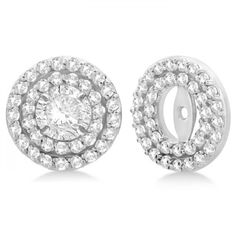 d9dcace71478ba Double Halo Diamond Earring Jackets for 4mm Studs 14k White Gold (0.52ct) -