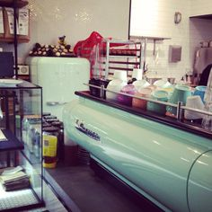 Matching SMEG green fridge and custom powder coated La Marzocco FB80