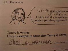 Show that Tracey is wrong.