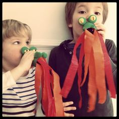 Fire breathing dragons from toilet paper rolls!  Easy DIY craft for blazing oral motor fun.  Visit pinterest.com/arktherapeutic for more #oralmotor therapy games