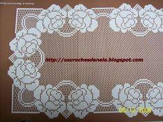 os croches da Nela: 2008 Crochet Art, Filet Crochet, Crochet Doilies, Crochet Patterns, Crochet Roses, Couture, Towel Set, Crochet Tutorials, Crochet Lace
