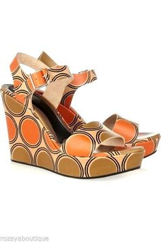 NIB $720 MARNI orange/ tan printed leather wedge sandals. IT 39 US 8.5 #Marni #PlatformsWedges