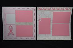 This premade 2-page 12x12 scrapbook layout is pink for breast cancer. Use this layout to celebrate a survivor in your family or in remembrance