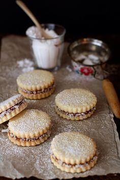 alfajores - shortbread cookie sandwiches with dulce de leche filling