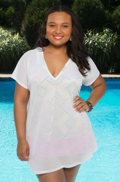 Comfortable and easy wear is this Always For Me Cover Diamond Texture Plus Size Tunic. The light weight fabric with mini diamond pattern, short sleeves and attached hood for protection from the sun mak