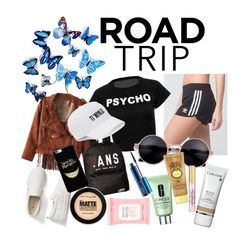"""""""Road trip look"""" by lauralydix on Polyvore featuring adidas, Vans, Gap, Clinique, Lancôme, Sun Bum, Maybelline, MAC Cosmetics, Accessorize and SO"""