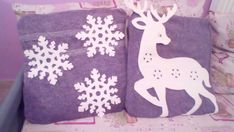 used an old gray sweater , cut a square from the body of the sweater and sewed it up. It has so much texture, adds that winter coziness. Attach the craft deer and snowflakes to the pillows then sewed. It took less than an hour to made! These sewing pillows look awesome!! Sometimes less is more, and that's the beauty of these pillows. With simple patterns and clean backgrounds, they are beautiful. Well done Christmas Sewing, Christmas Diy, Holiday, Sewing Pillows, Gray Sweater, Snowflakes, Deer, Backgrounds, Xmas