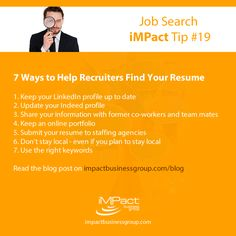 How Do You Make Sure Recruiters Are Finding Your Resume. Here Are 7 Tips    Read The Detailed Blog Post On Our Website. . . #Resume #ResumeTips  #ResumeAdvice ...