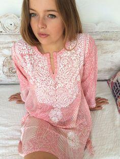 Ibiza style Silk chiffon tunic in rosa & white retro design with amazing chikan hand embroidery. aurobelle, etsy