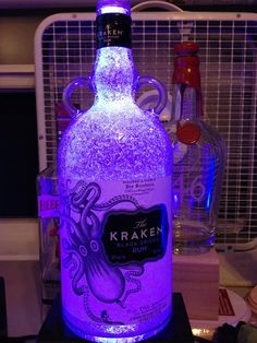 Glass Rum Bottle Lamp Color changing LED by IlluminationStation, $60.00