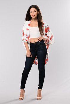 #jeanshose #croptop #kimono Matilda Jeans - Dark Blue