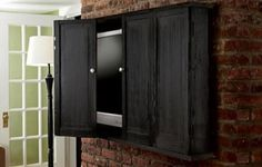 How to Build a Wall-Hung TV Cabinet with Bifold Doors Hanging Tv On Wall, Wall Mounted Tv, Tv Escondida, Outdoor Tv Cabinet, Tv Wall Cabinets, Tv Cabinets With Doors, Cabinet Doors, Tv Covers, Hidden Tv