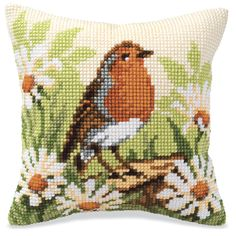 Daisy Song Bird Quickpoint Pillow Top - Cross Stitch, Needlepoint, Embroidery Kits – Tools and Supplies