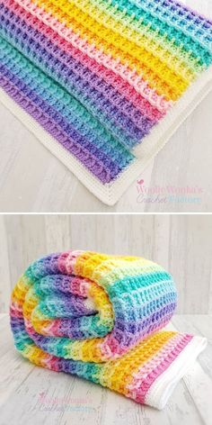 Waffle Stitch Blanket by Melanie Charles / Woolly Wonka's Crochet Factory – Knitting Baby İdeas. Crochet Stitches For Blankets, Crochet Stitches Free, Afghan Crochet Patterns, Crochet Basics, Baby Blanket Crochet, Free Crochet, Crochet Waffle Stitch, Rainbow Crochet, Nurseries